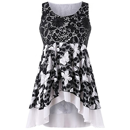 Wensy Clearance Womens Fashion Casual Plus Size Lace Butterfly Pattern Tank Top Sleeveless Vest (3XL, (Black Butterfly Tunic)