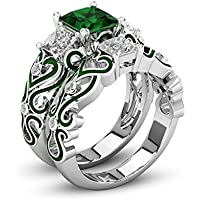 LALISA 2Pcs/Set Lily of the Valley Inspired Green Emerald Princess Cut Two Tone Wedding Ring Set #5-12 (9)