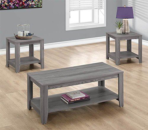 Monarch I 7991P 3 Piece Table Set, Grey