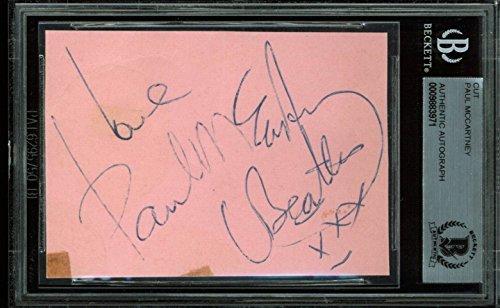 Paul McCartney Authentic Signed 2.5×3.5 Cut Signature Autographed BAS Slabbed