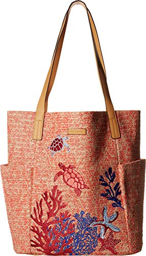 - Vera Bradley Women's North/South Straw Beach Tote Scarlet Coral One Size