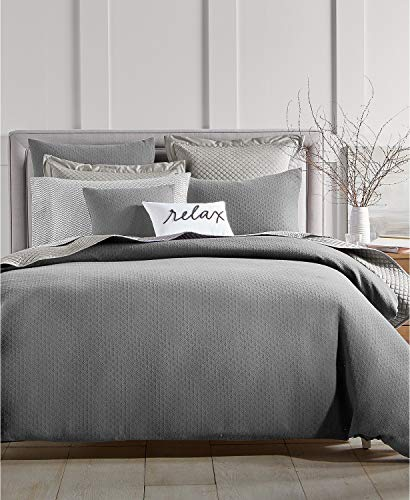 Charter Club Damask Designs Diamond Dot 300 Thread Count Cotton 3 Piece King Comforter Set Grey