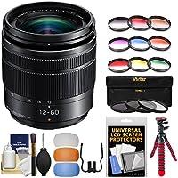 Panasonic Lumix G Vario 12-60mm f/3.5-5.6 ASPH OIS Zoom Lens with 3 UV/CPL/ND8 & 9 Colored Filters + Flex Tripod + Flash Diffuser Set + Kit