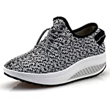 JARLIF Women's Platform Canvas Walking Sneakers - Comfortable Lightweight Lace-up Fitness Shoes (7.5 B(M) US, Gray)