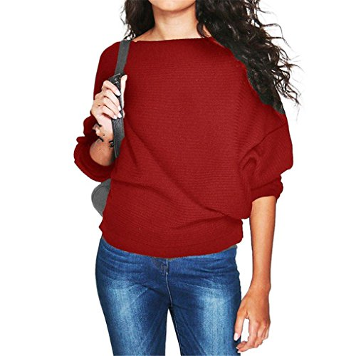 Price comparison product image haoricu Women Blouse, Women Batwing Sleeve Knit Sweater Pullover Loose Jumper Tops Knitwear (XL, Red)
