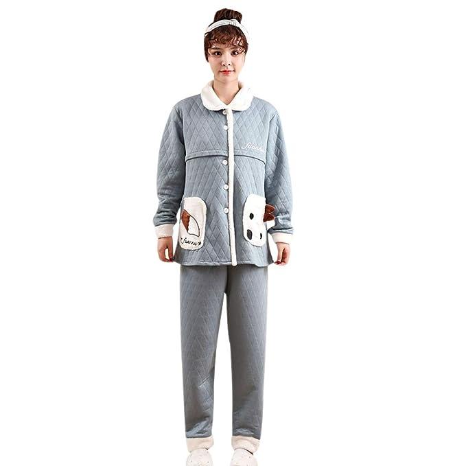 c87044203 BOZEVON Mujer Embarazada Pijama de Lactancia Invierno Ropa - Un Juego de  Blusa de Algodón Grueso