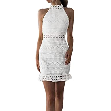 e30b6abbe76d8c Kleid Damen Kolylong® Frauen Elegant Spitze Ärmelloses Kleid Knielang  Vintage Neckholder Spitzenkleid Slim Bleistift Kleid