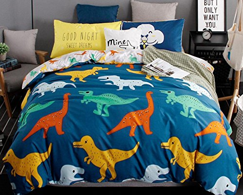 Percale Sheets Kids Bedding (LAGHCAT 4 Piece Kids Bedding for Teens Boys Girls Dinosaur Printed Bed sheet set, Queen Size (No Comforter))