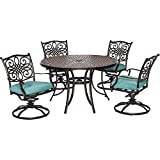 Hanover TRADDN5PCSW-BLU 5 Piece Traditions Dining Set with 4 Swivel Rockers