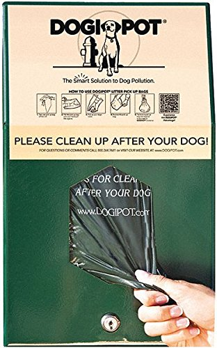 DOGIPOT 1002HP-4 Junior Bag Dispenser with Header Pak Bags, Aluminum, Forest Green