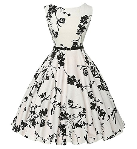 iPretty Women's Vintage Dress 1950's Hepburn Retro Rockabilly Floral Party Skater Dresses Swing Party Dress