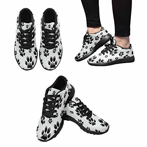 InterestPrint Womens Trail Running Shoes Jogging Lightweight Sports Walking Athletic Sneakers Dogs Footprints Multi 1 AXakT