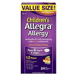Allegra Children's Allergy 12 Hour Orally Disintegrating Tablets, Orange Cream Flavor, 24 Count