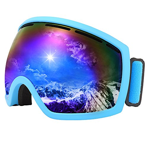 JIEPOLLY Ski Goggles Pro , anti fog anti wind sunglasses ,for women men youth Blue Frame Blue - Ski Sunglasses Ladies