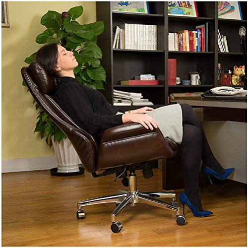 Glitzhome PU Leather Adjustable High-Back Office Chair Home Executive Armrest Swivel Chair, Brown