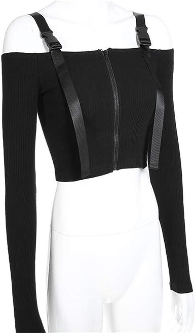Flying Lisa Tops Camisa de Manga Larga para Mujer Camisa de Estilo Crop Top Negra Top Corto Sexy Negro: Amazon.es: Ropa y accesorios