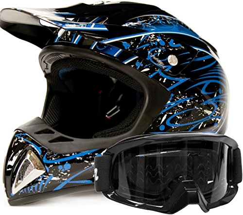 Adult Offroad Helmet & Goggles Gear Combo, Blue w/Black (Small) by Typhoon Helmets