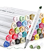 Ohuhu Alcohol Art Markers, Double Tipped Sketch Marker (Fine and Chisel), 60 Well-selected Colors +1 Colorless Marker Blender for Manga Comic Illustrations Cartoons, New-designed Shape for Better Grip