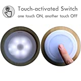 Sycees Touch Activated LED Puck Lights, Dimmable, Battery Operated, Stick on Anywhere, Closet Light, Under Cabinet Lighting, Daylight (5000K), 3-Pack