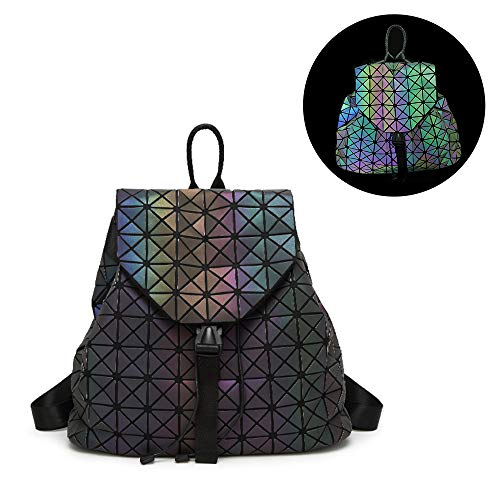 (HIENJOY Fashion Backpacks Geometric Holographic Luminous Reflective Backpack PU Leather Multipurpose Daypacks)