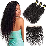 Bleaching Hair Makes It Thicker - Huarisi 3 Water Wave Indian Bundles with Frontal Free Part Silky Unprocessed Virgin Hair and Lace Closure 13x4 100g Real Human Hair Weaves Natural Color No Shedding 14 16 18 +12in