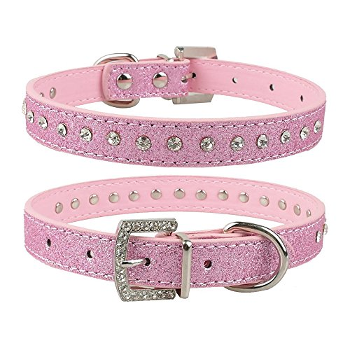 SODIAL(R) Single-Row Rhinestone Diamond Collar Pet Collars PU Leather, pink XS (Collar Single)