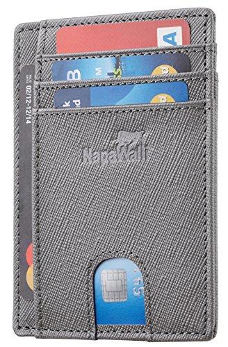 Toughergun RFID Blocking Minimalist Genuine Leather Slim Front Pocket Wallet U (Virginia Steel -