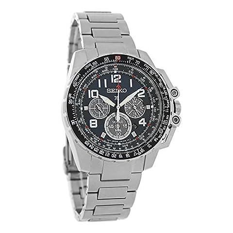 Seiko Chronograph Solar Stainless Steel Black Dial Men's Watch SSC275 (Chronograph Seiko)