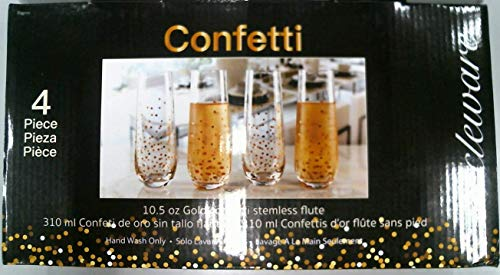 - Circleware 77095 Confetti Gold Champagne Flutes Wine Glasses, Set of 4 Beverage Drinking Glassware for Water, Liquor and Best Selling Home Bar Decor Dining Gifts, 10.5 oz,