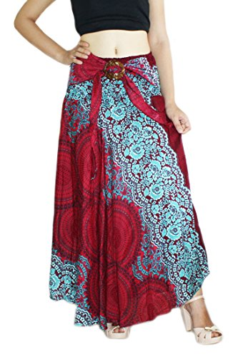 Banjamath@ Women's Long Bohemian Style Gypsy Boho Hippie Skirt (M, Mandala Red)