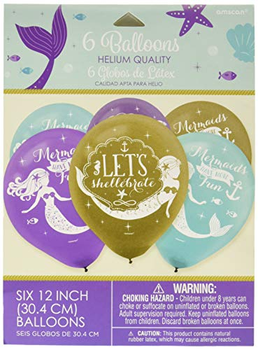 amscan Mermaid Wishes Printed Latex Balloons, Multi Color -