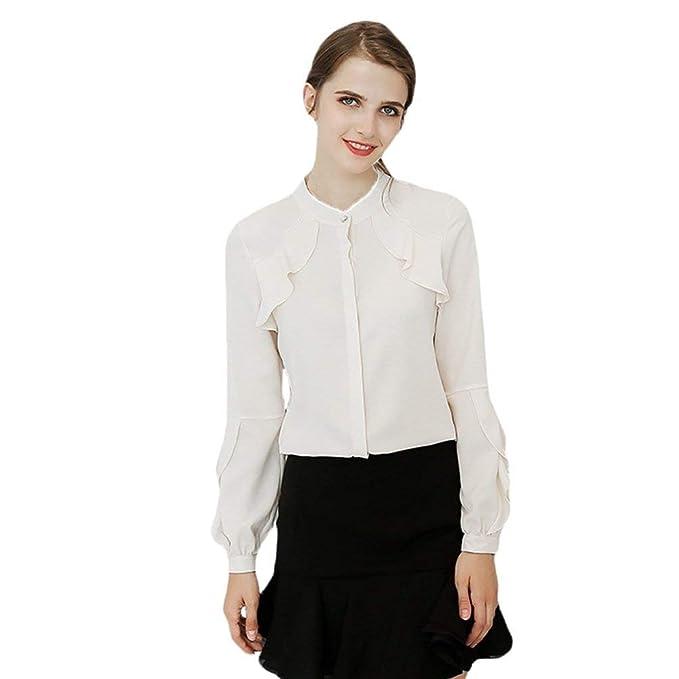 Battercake Blusas Mujer Primavera Elegante Moda Camisas Color Sólido Un Solo Pecho Manga Larga Casuales Mujeres