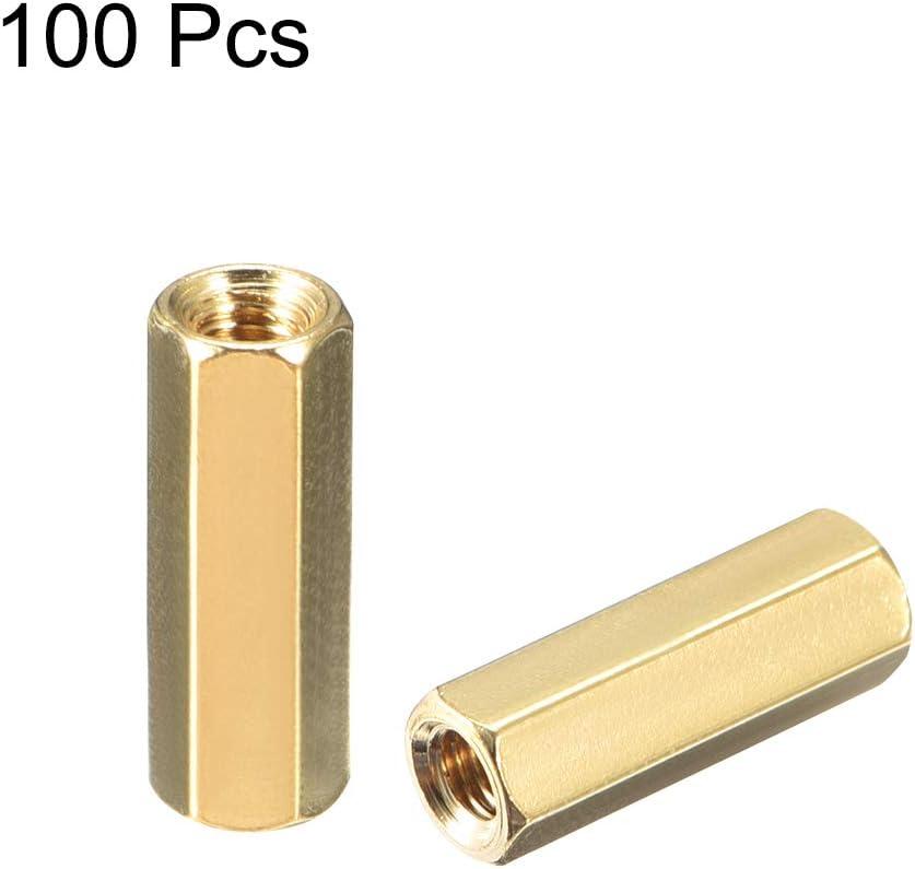 uxcell 100pcs Brass Straight PCB Pillar Female Thread Hex Standoff Spacer M3x5x14mm