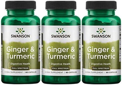Swanson Full Spectrum Ginger Turmeric 60 Capsules 3 Pack
