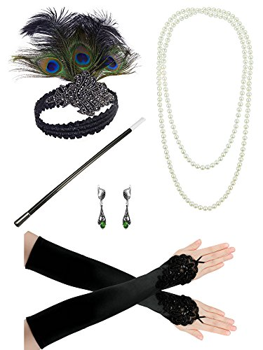 Zivyes 1920s accessories Headband Earrings Pearl Necklace Gloves Cigarette Holder (Emerald Crystal Headband)