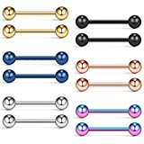 Ruifan Mix Color 316L Stainless Steel Nipple Shield Tongue Barbell Ring Bar Body Piercing 14G 12PCS