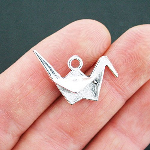 10 Origami Crane Charms Antique Silver Tone 3D Bird Jewelry Making Supply Pendant Bracelet DIY Crafting by Wholesale Charms
