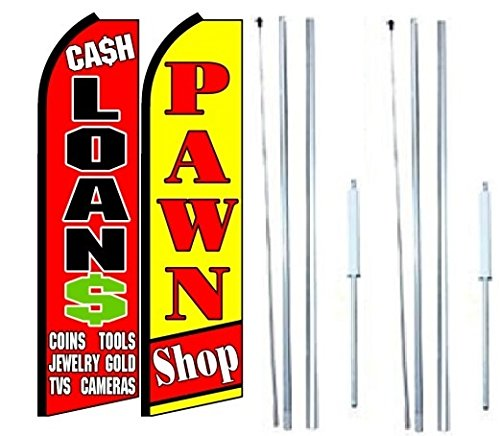 Cash Loans Pawn Shop King Swooper Flag Sign With Complete Hybrid Pole Set   Pack Of 2