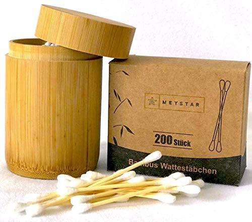 MEYSTAR Bambus Wattestäbchen + Aufbewahrungsbüchse aus Bambus + Nachfüllpaket Insgesamt 300 Q-Tips, biologisch abbaubar…