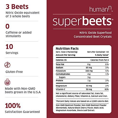 HumanN SuperBeets Circulation Superfood Concentrated Beet Powder Nitric Oxide Boosting Supplement (Black Cherry Flavor, 0.175-Ounce, 30 Packets) by HumanN (Image #2)
