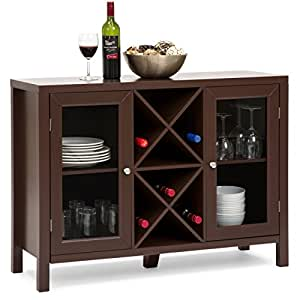 Best Choice Products Wooden Wine Rack Console Sideboard Table w/ Storage (Cherry)