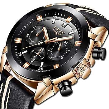 LIGE – Reloj de pulsera analógico para hombre, con cronógrafo, resistente al agua, correa de piel negra, estilo clásico, informal, con esfera grande, color dorado y negro Hombres Relojes Relojes de Pulsera Ropa, Zapatos y Joyería