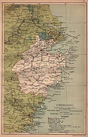 Chekiang Zhejiang China Province Map Hangchow Hangzhou
