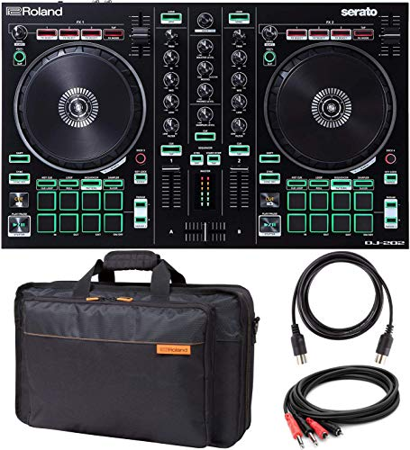 Roland DJ-202 DJ Controller with Built-In TR Drum Machine Bundle with Roland CB-BDJ202 Carrying Bag for DJ-202, Hosa CPR-202 Stereo TS to RCA Cable, and Blucoil 5-Ft MIDI ()