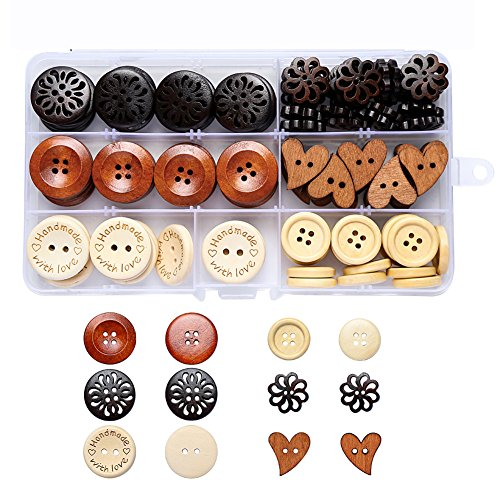 Large Assorted Round Heart Wood Wooden Buttons Muti for Craf