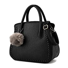 Lucky Gourd Womens Pure Color Pu Leather Tote Bags Top Handle Handbag with Pompon Pendant
