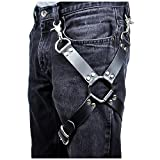 L'vow Sexy Punk Black Leather Harness Cage Thigh Leg Garters Belt for Women Men (Style one)