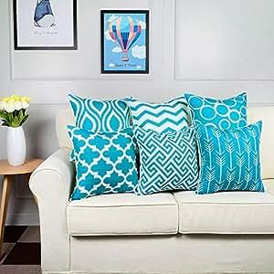 Amazon.com: WEUIE - Juego de 6 fundas de cojín decorativas ...