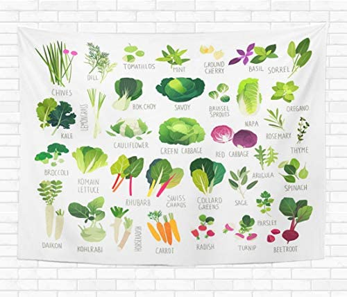 Assp Tapestry Big Clip Collection Various Kind of Vegetables and Common 60×80 Inches Home Decorative Wall Hanging Tapestries for Living Room Bedroom Dorm
