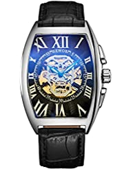 SEWOR Mens Automatic Business Dress Tonneau Skull Skeleton Wrist Watch Mechanical Self Wind (Black)